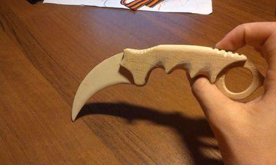 Нож керамбит: как сделать из дерева, рисунок, чертеж-шаблон на бумаге