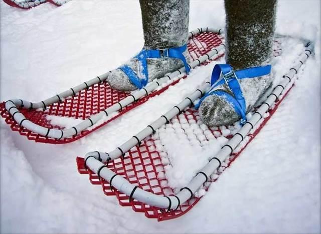 Самодельные снегоступы : из пластиковых (полипропиленовых) труб, чертеж, фото и видео