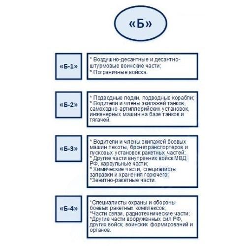 Категория годности Б-3: годен с незначительными ограничениями в какие войска берут